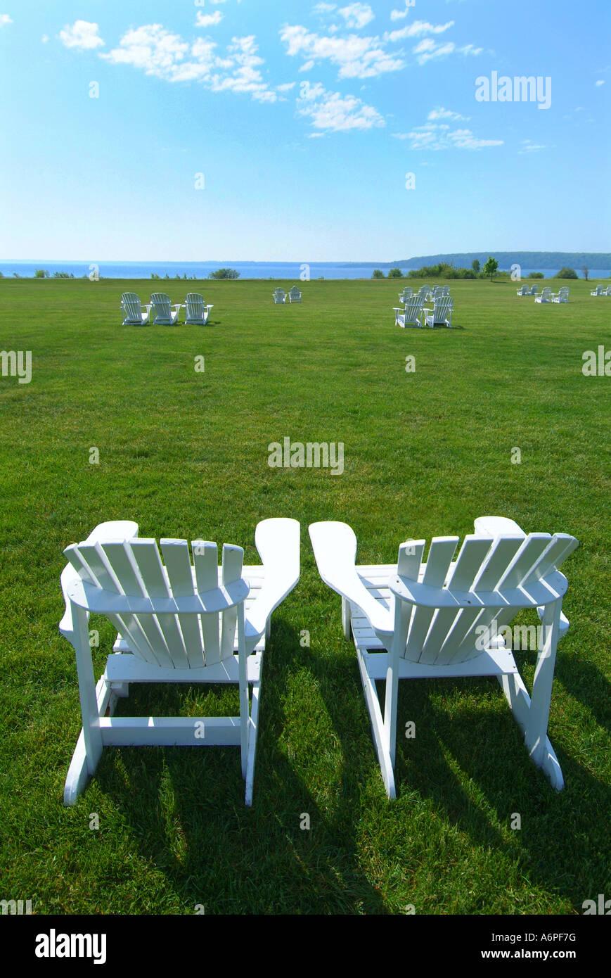 Strange Usa Michigan Mackinac Island Lake Huron White Adirondack Bralicious Painted Fabric Chair Ideas Braliciousco