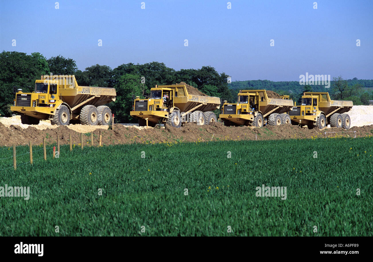 heavy earth moving machinery at work on site of a1 m1 link road