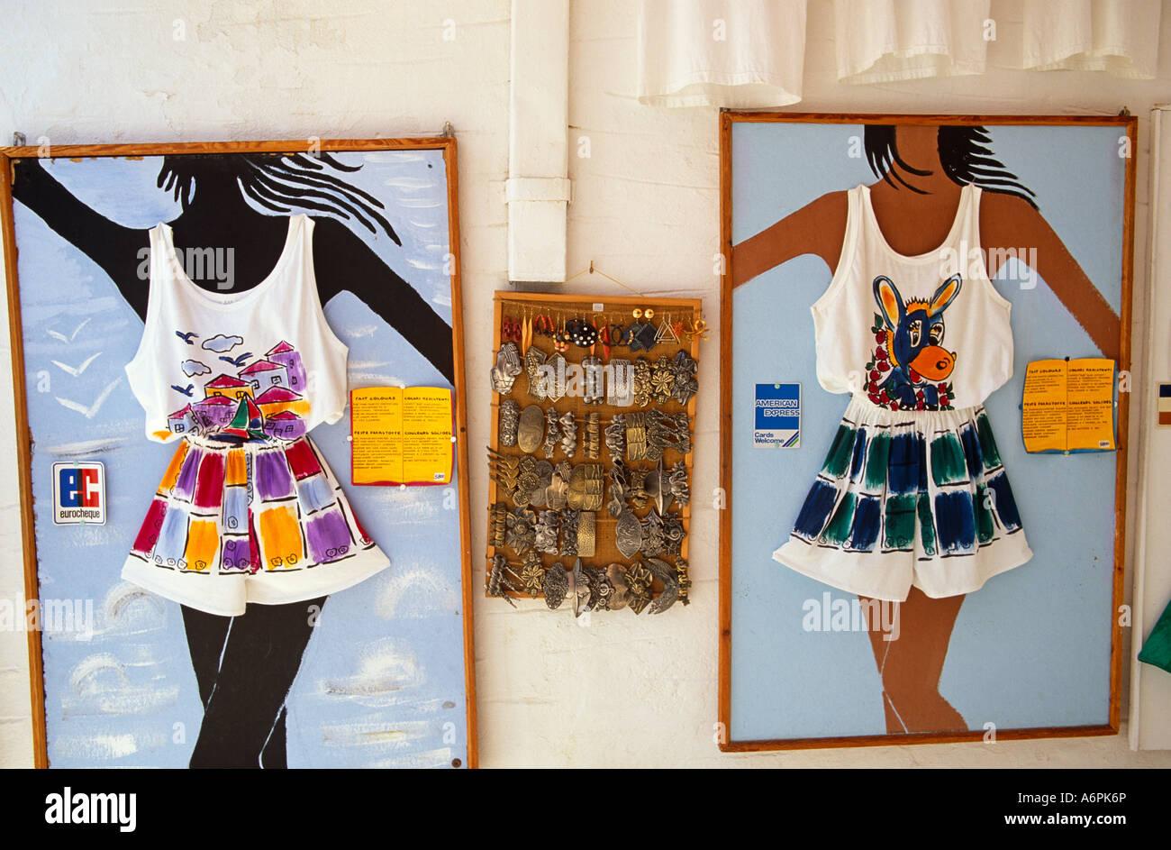 Shop Selling Beachware Lindos Rhodes Greek Islands Greece Hellas - Stock Image