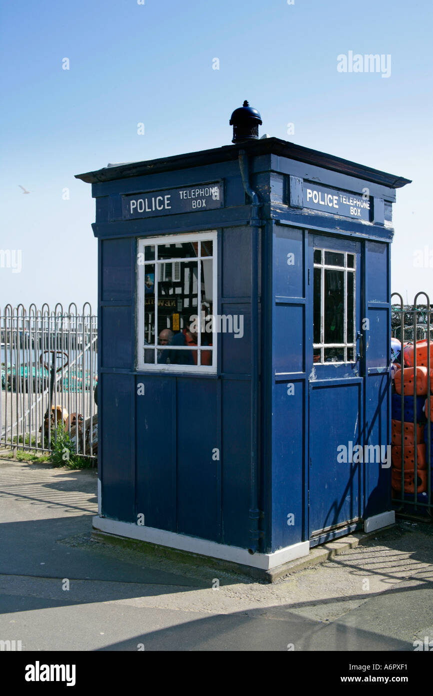 Dr Who lookalike Police Call Box Sandiside Scarborough North Yorkshire - Stock Image