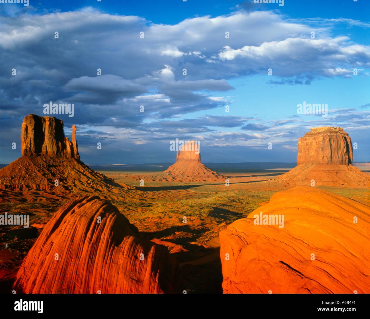Mitten Buttes Monument Valley Arizona USA - Stock Image