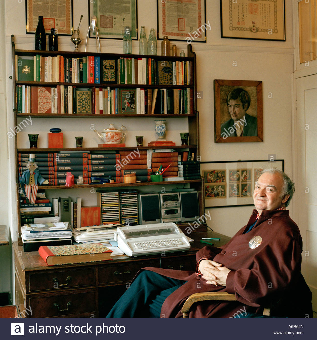 Bevis Hillier, Writer And Author In His Room At The Hospital Of St Cross,  Winchester UK 2003