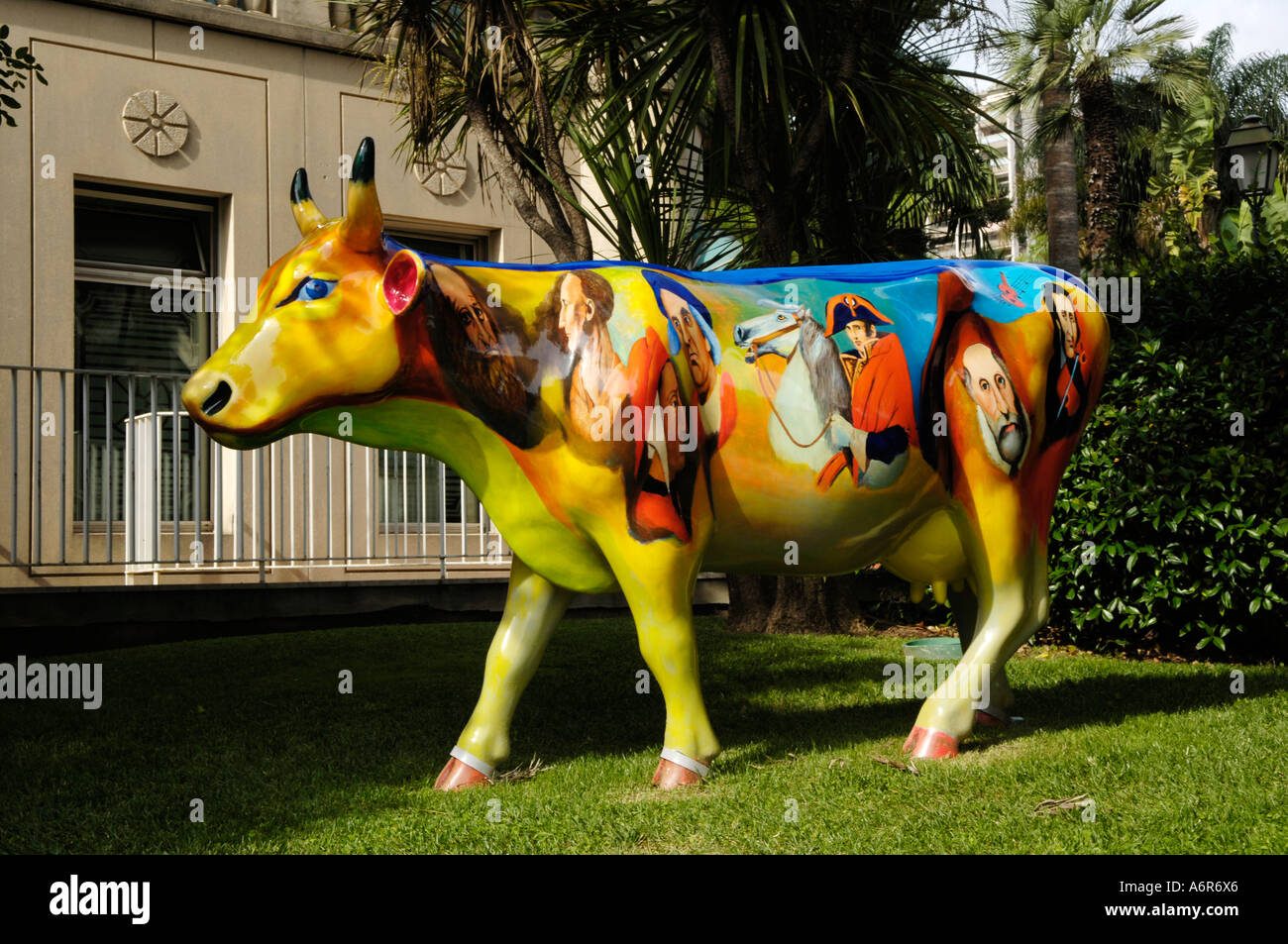 Monaco, coloured cow, sculpture - Stock Image