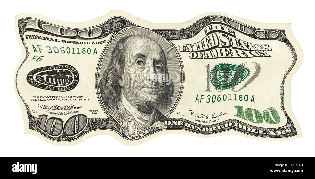 warped and crumpled  one hundred dollar bill US - Stock Image