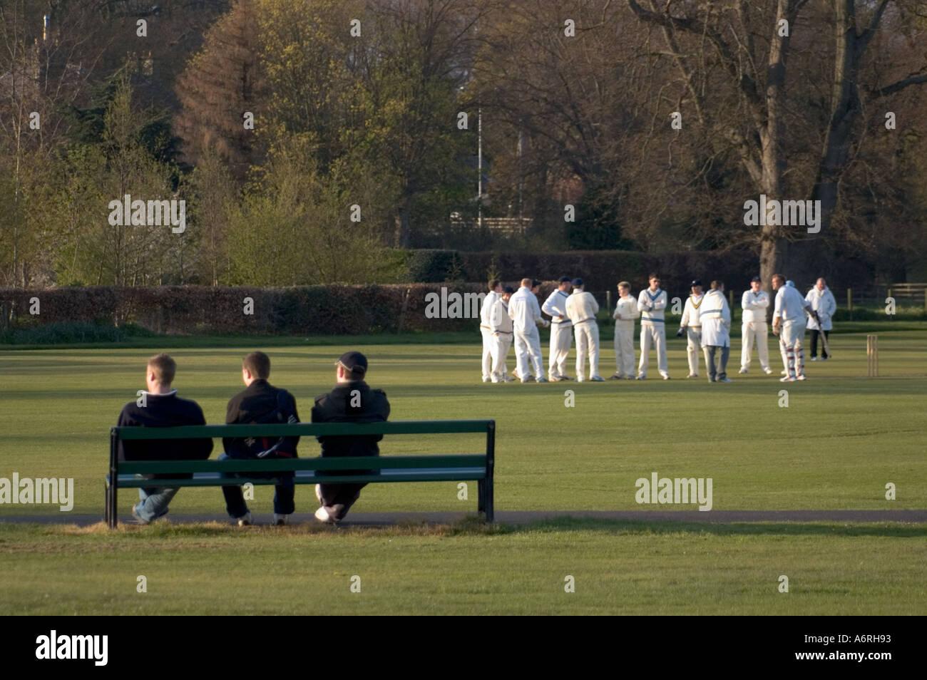 Cricket match in spring sunshine Kelso Scottish Borders UK