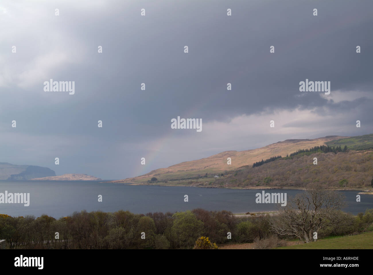 Rainbow over Loch na Keal Isle of Mull Inner Hebrides Travel Scotland Island Isle Argyll and Bute Stock Photo