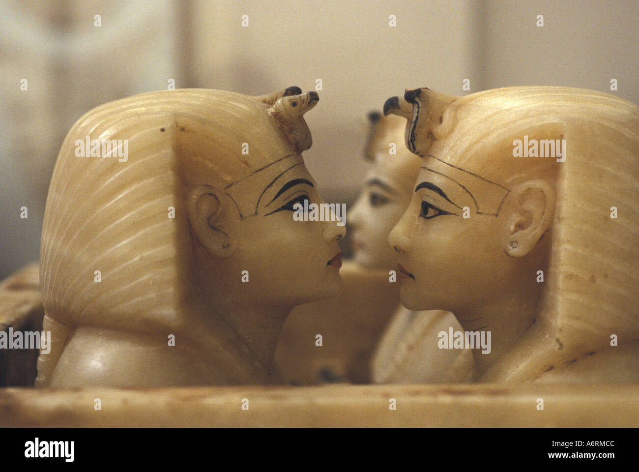 Africa, Egypt, Cairo. Egyptian Antiquities Museum. Alabaster Tut top canopic jars, hold his internal organs - Stock Image