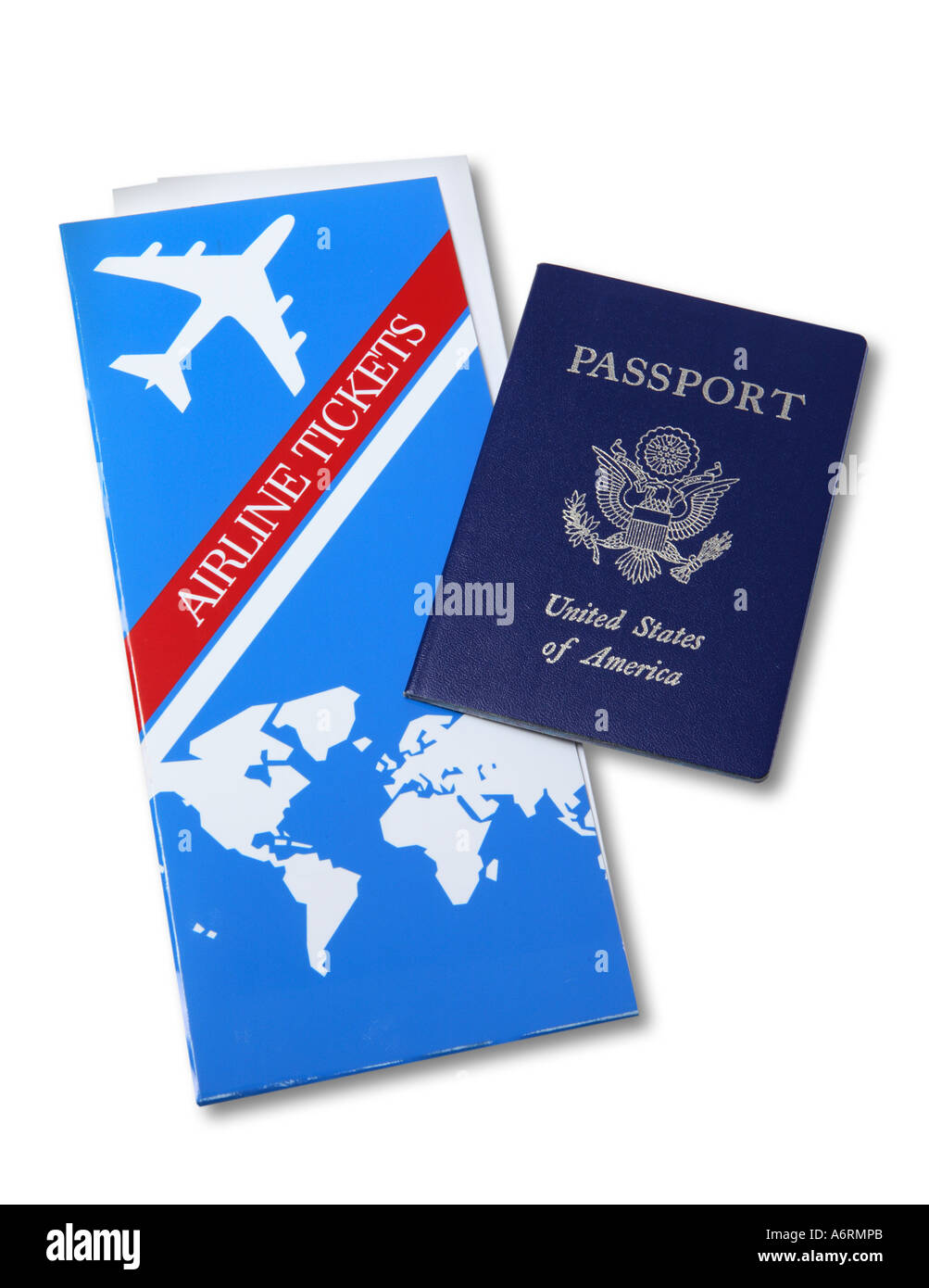 Airline tickets and US Passport - Stock Image