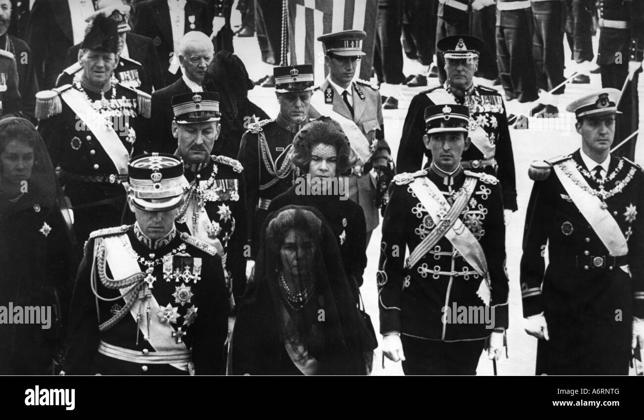 Paul I., 14.12.1901 - 6.3.1964, King of Greece 1.4.1947 - 6.3.1964, death, funeral procession, Athens 12.3.1964, - Stock Image