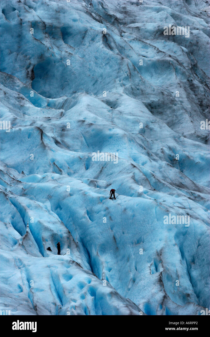 Ice climbers ascend the Briksdalbreen glacier in Norway - Stock Image