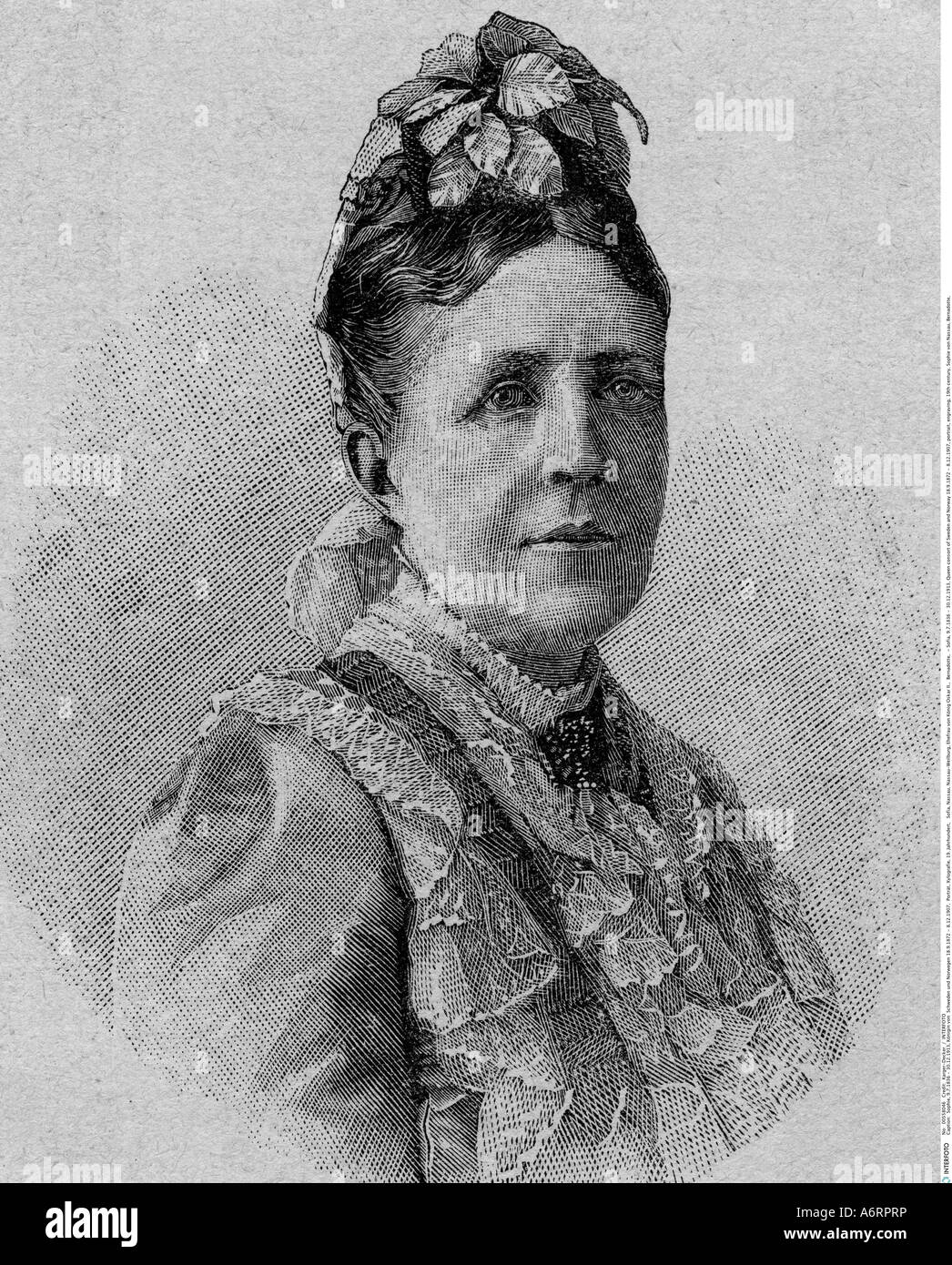 Sofia, 9.7.1836 - 30.12.1913, Queen consort of Sweden and Norway 18.9.1872 - 8.12.1907, portrait, engraving, 19th - Stock Image