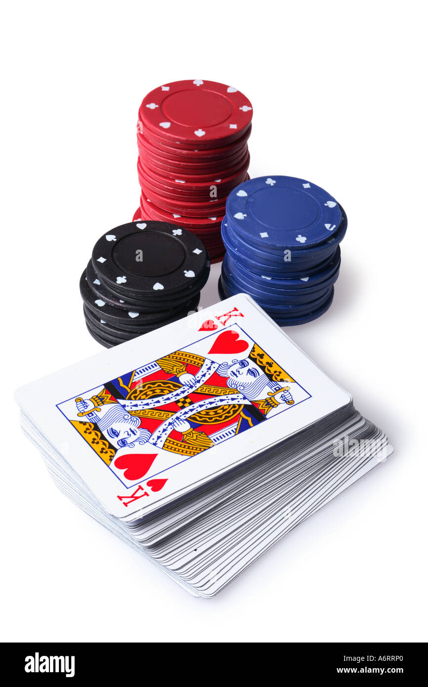 Poker chips and deck of cards - Stock Image