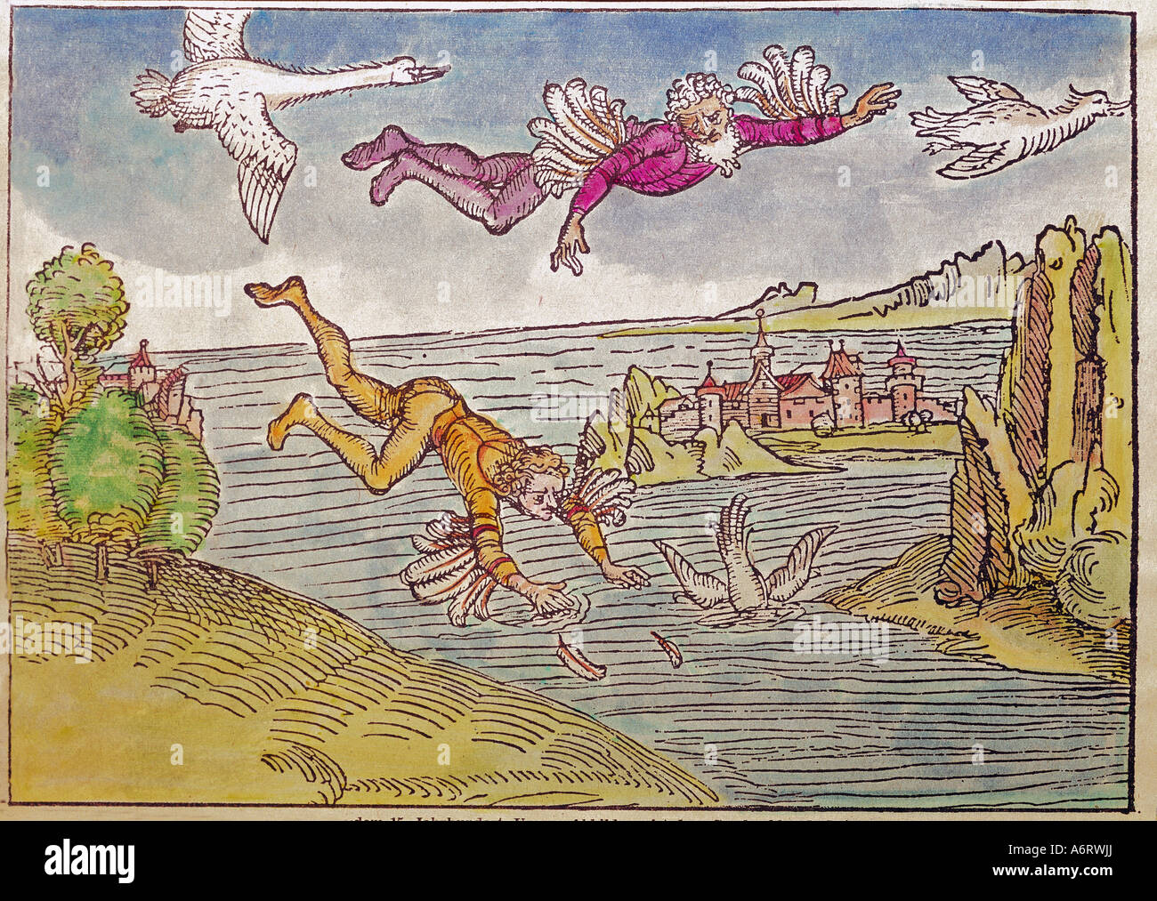 Icarus and Daedalus, Greek mythological figures, fall of Icarus, coloured woodcut, Nuremberg or Augsburg, circa - Stock Image