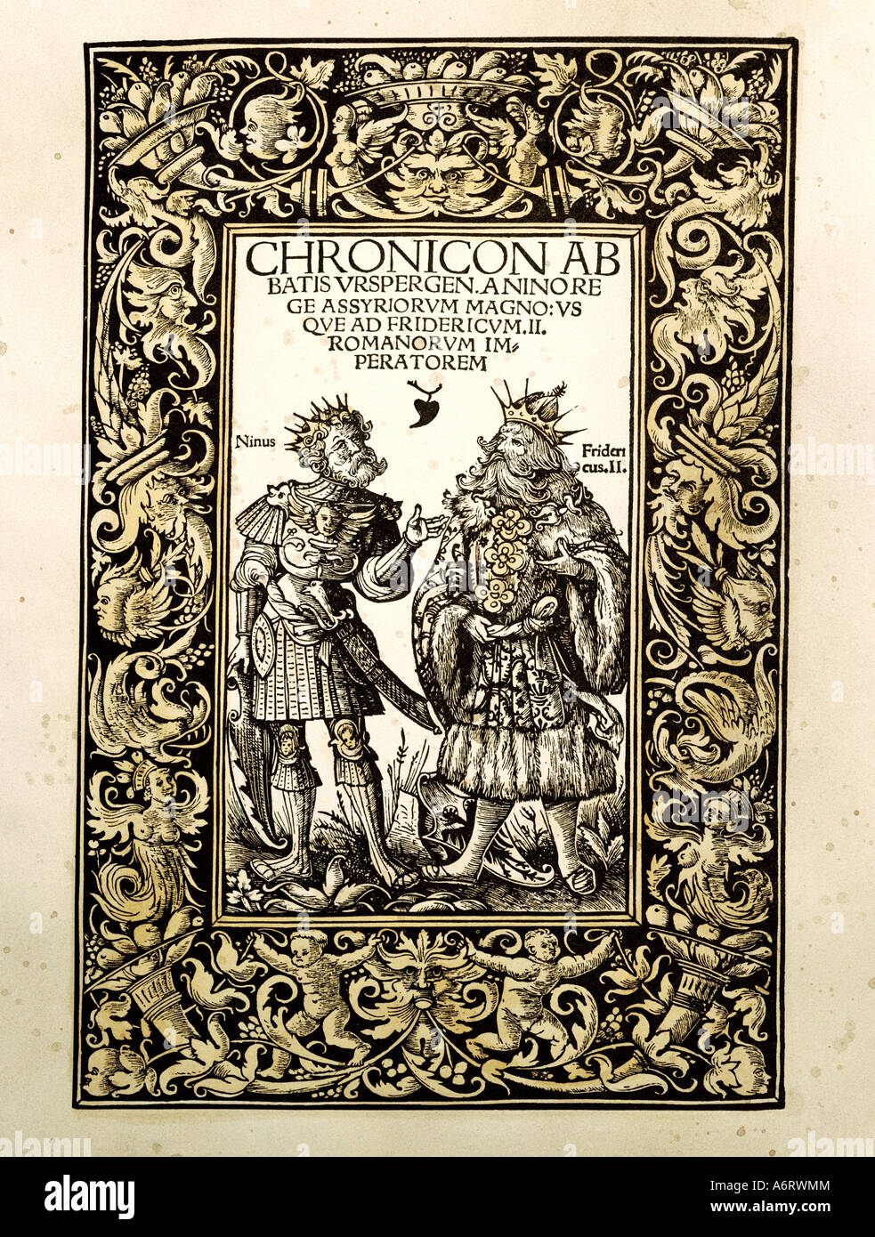 science, history, chronicle of abbot Ursberger, Augsburg, 1515, printed by bei Johann Miller, title, woodcut by - Stock Image
