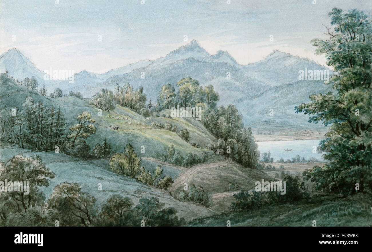 fine arts, Schöpfer, Franziska (1763 - 1836), alpine foothill landscape with view towards the mountains, watercolour, - Stock Image