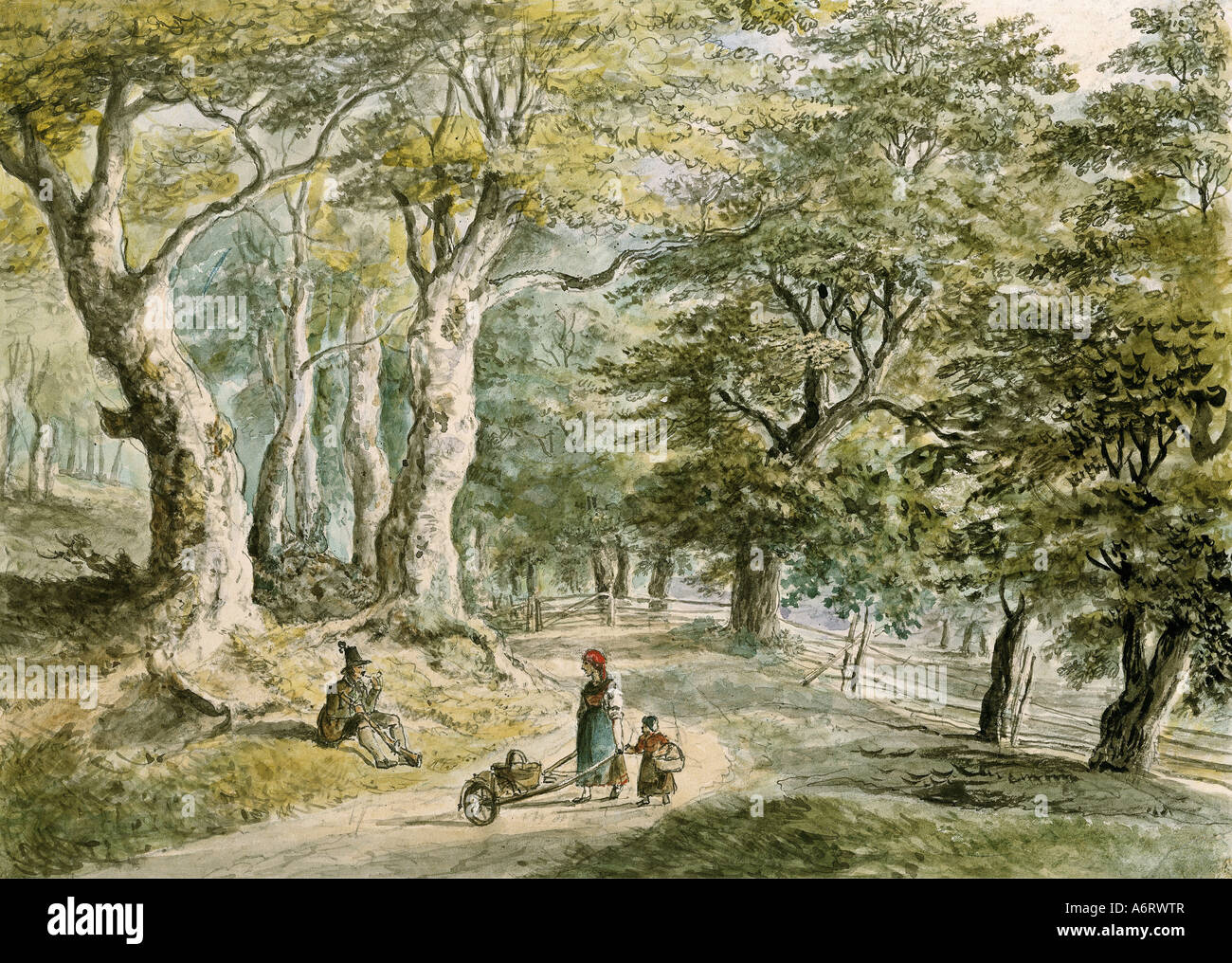 fine arts, Dorner, Johann Jakob, the Younger (1775 - 1852), forrest near Dietramszell, watercolour, 21,6x30 cm, - Stock Image