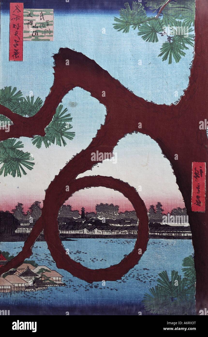 fine arts, Hiroshige Utagawa (1797 - 1858), the moon pine, woodcut, tree, circle, plants, Ukiyo-e, Hiroshige Ando, - Stock Image