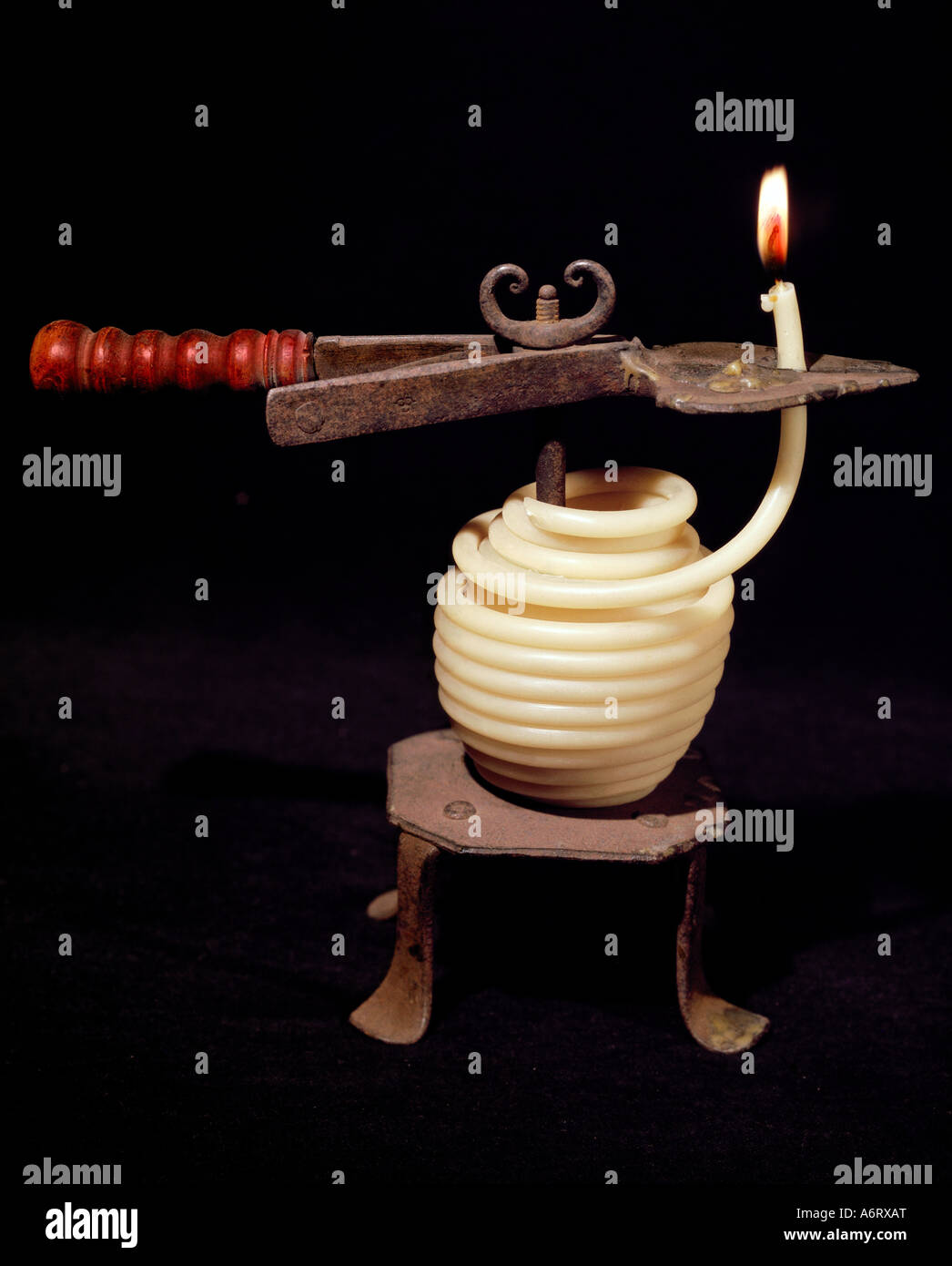 energy, lamps and light, wax string fastener, Basel, circa 1900, Additional-Rights-Clearances-NA - Stock Image