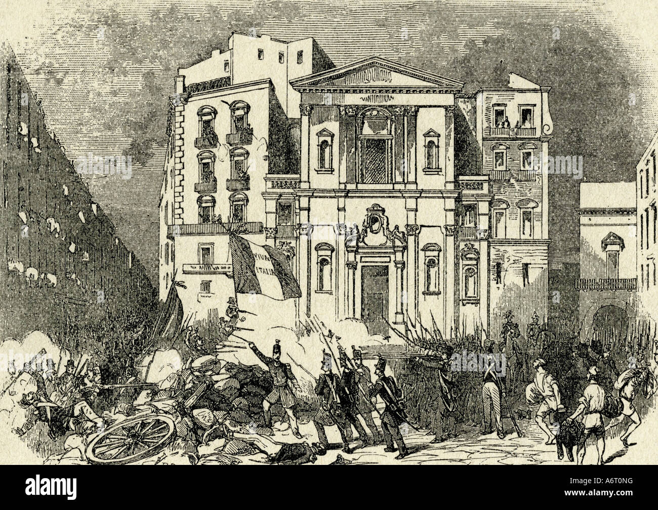 events, Revolutionen 1848/1849, Italy, Naples, 15.5.1848, skirmish between insurgents and soldiers, engraving, 19th Stock Photo