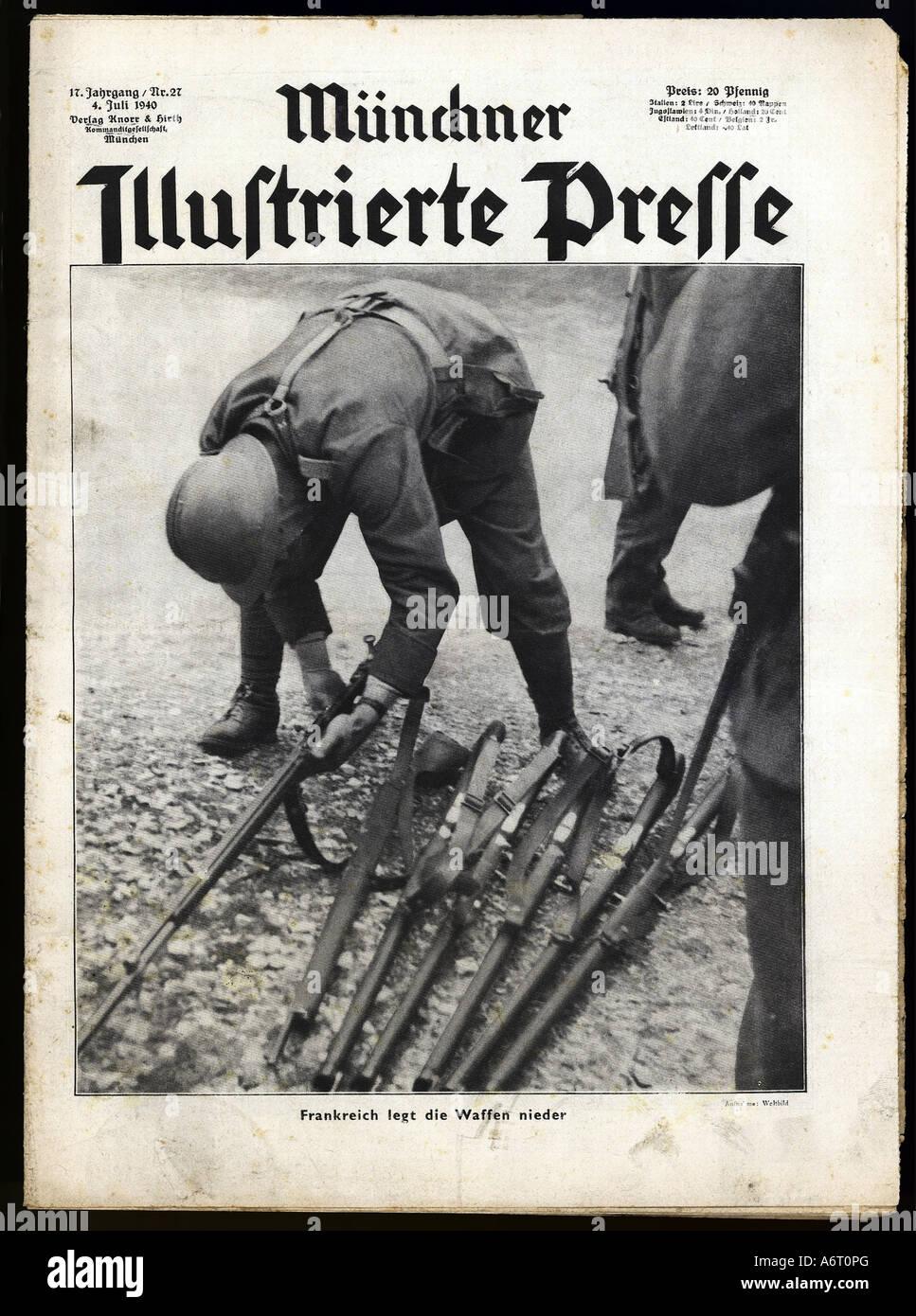 newspapers/magazines, 'Münchner Illustrierte Presse', volume 17, number 27, 4.7.1940, title, France - Stock Image