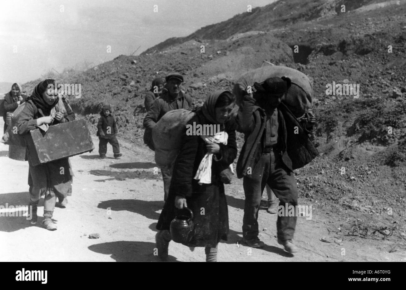 events, Second World War / WWII, refugees, Russia 1941 / 1942, Stock Photo