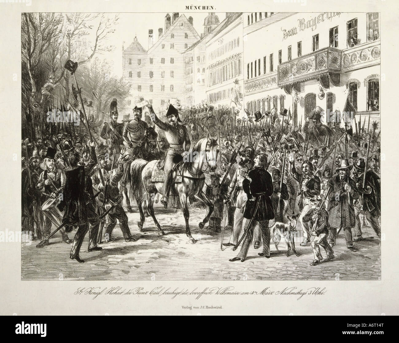 events, revolutions 1848/1849, Germany, Bavaria, Prince Charles of Bavaria becalming the masses, Munich 4.3.1848, - Stock Image