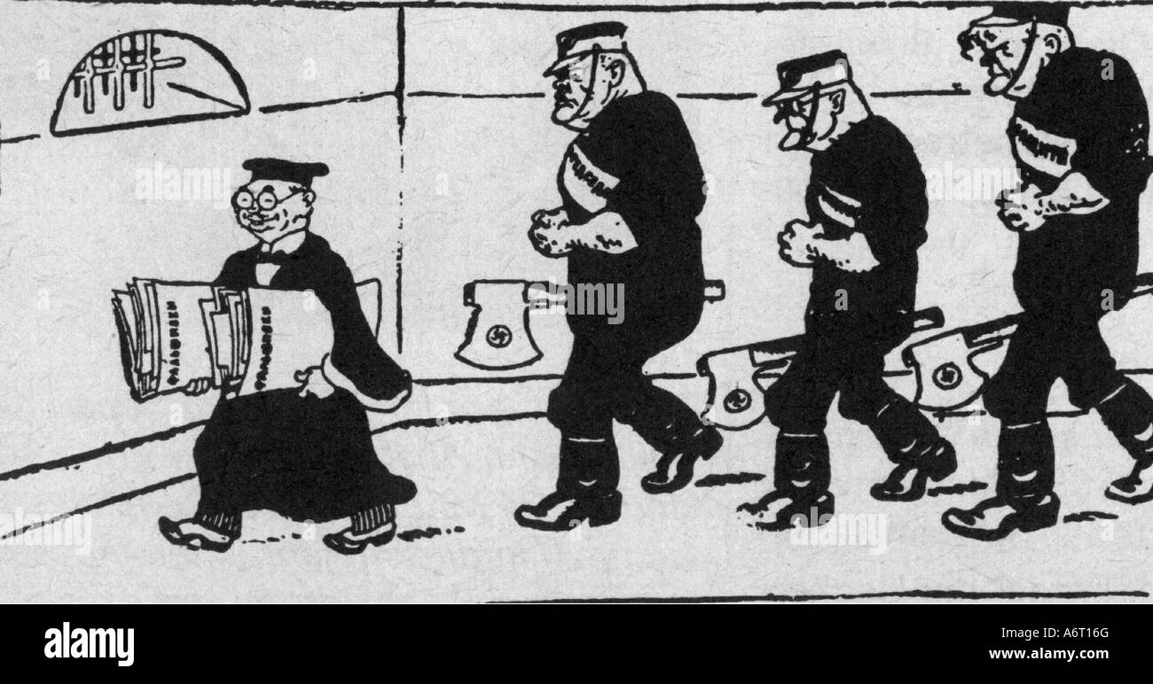 justice, lawsuits, Reichstag Fire Trial, Leipzig 21.9.1933 - 23.12.1933, judge and hangmen, caricature, drawing Stock Photo