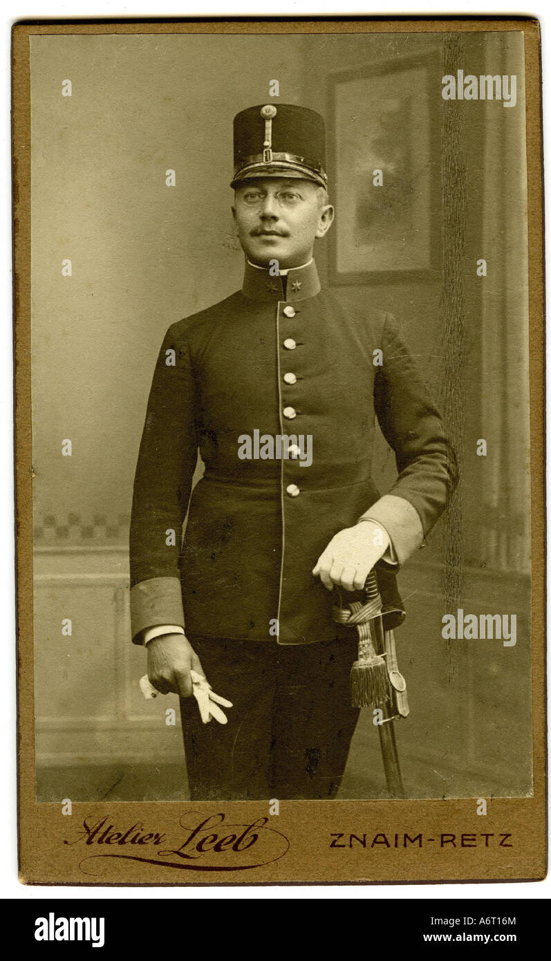 military, Austria-Hungary, uniforms, officers, Lieutenant, photograph by Studio Leeb, Znaim, circa 1900, Additional - Stock Image