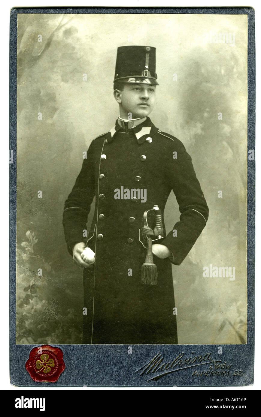 military, Austria-Hungary, uniforms, officers, Lieutenant, photograph by Studio Malvina, Lviv circa 1905, Additional - Stock Image
