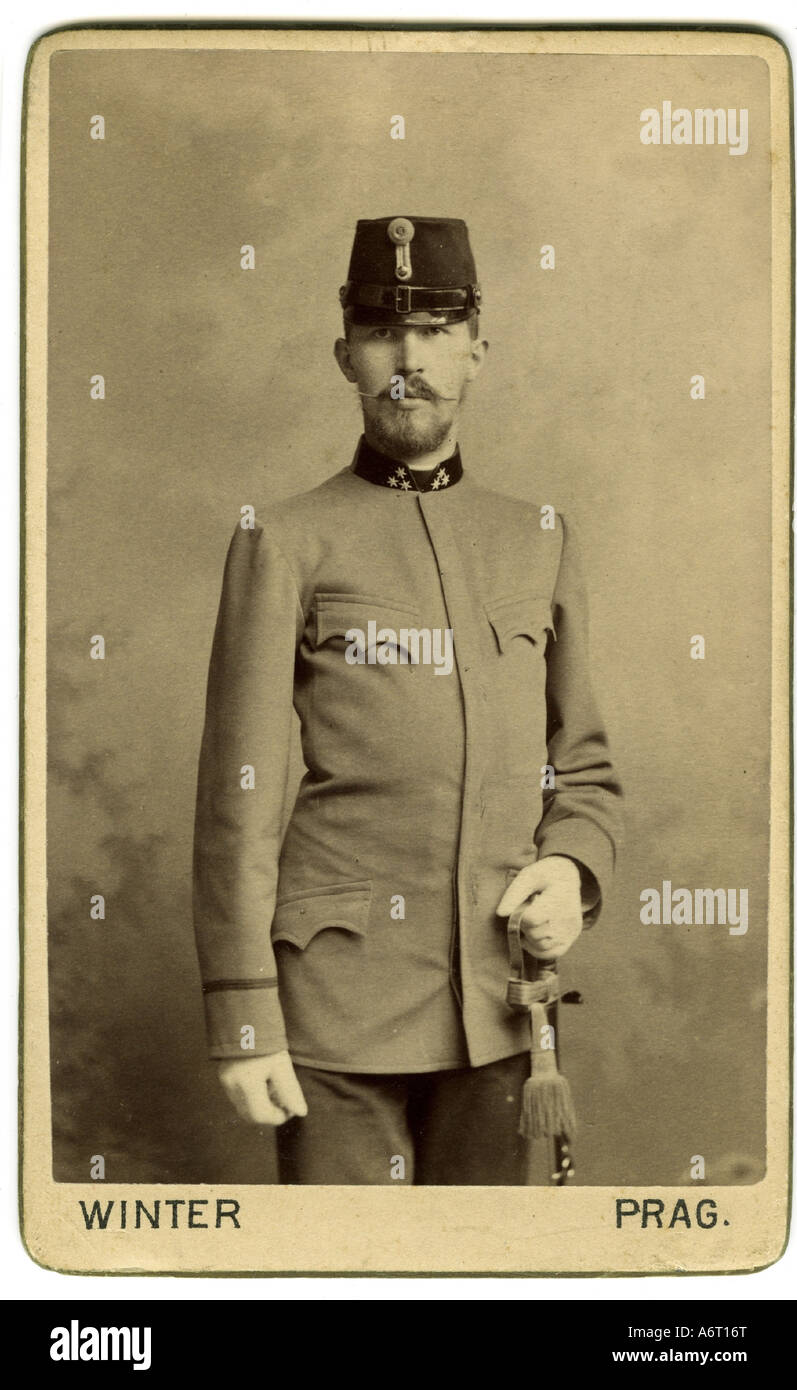 military, Austria-Hungary, uniforms, officers, Captain, photograph by M. l. Winter, Prague, circa 1900, Additional - Stock Image