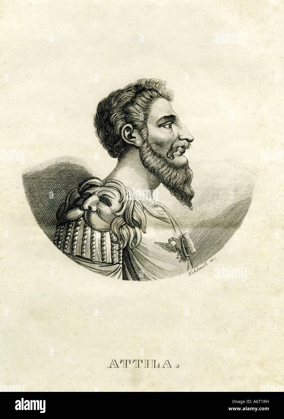 Attila the Hun, circa 406 - 453, King of the Huns, circa 433 - 453, portrait, steel engraving, by Kohlmann, 1836, - Stock Image