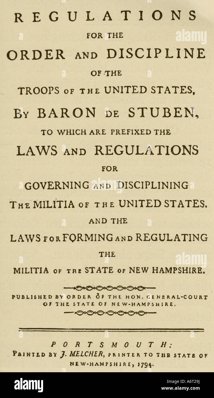 military, USA, regulations for the militia of New Hampshire based on the regulations for the US Army by Friedrich - Stock Image