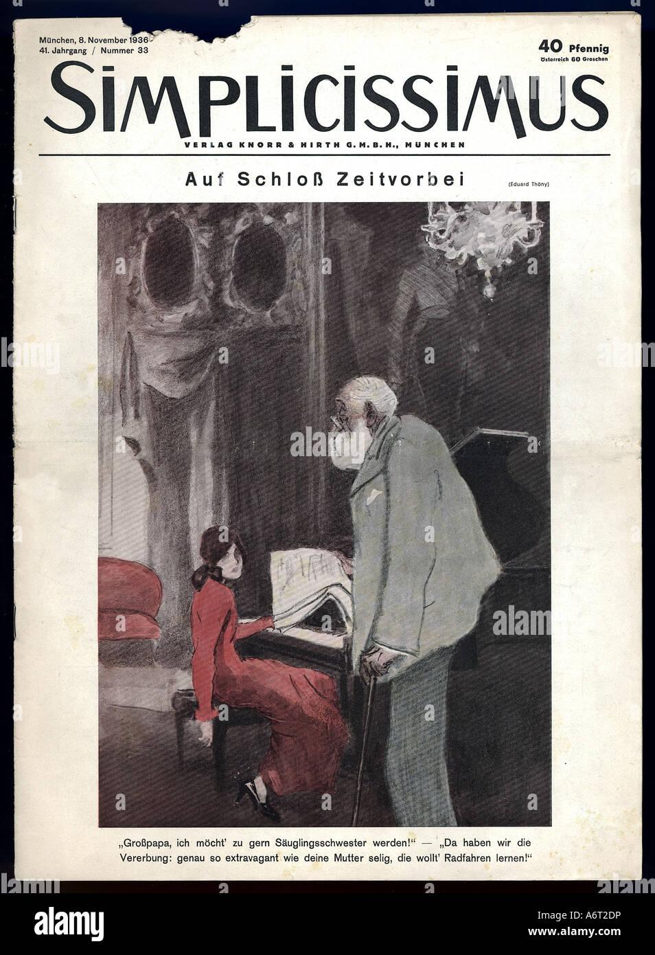 press/media, magazines, 'Simplicissimus', Munich, 41st volume, number 33, 8.11.1936, title by Eduard Thöny, - Stock Image