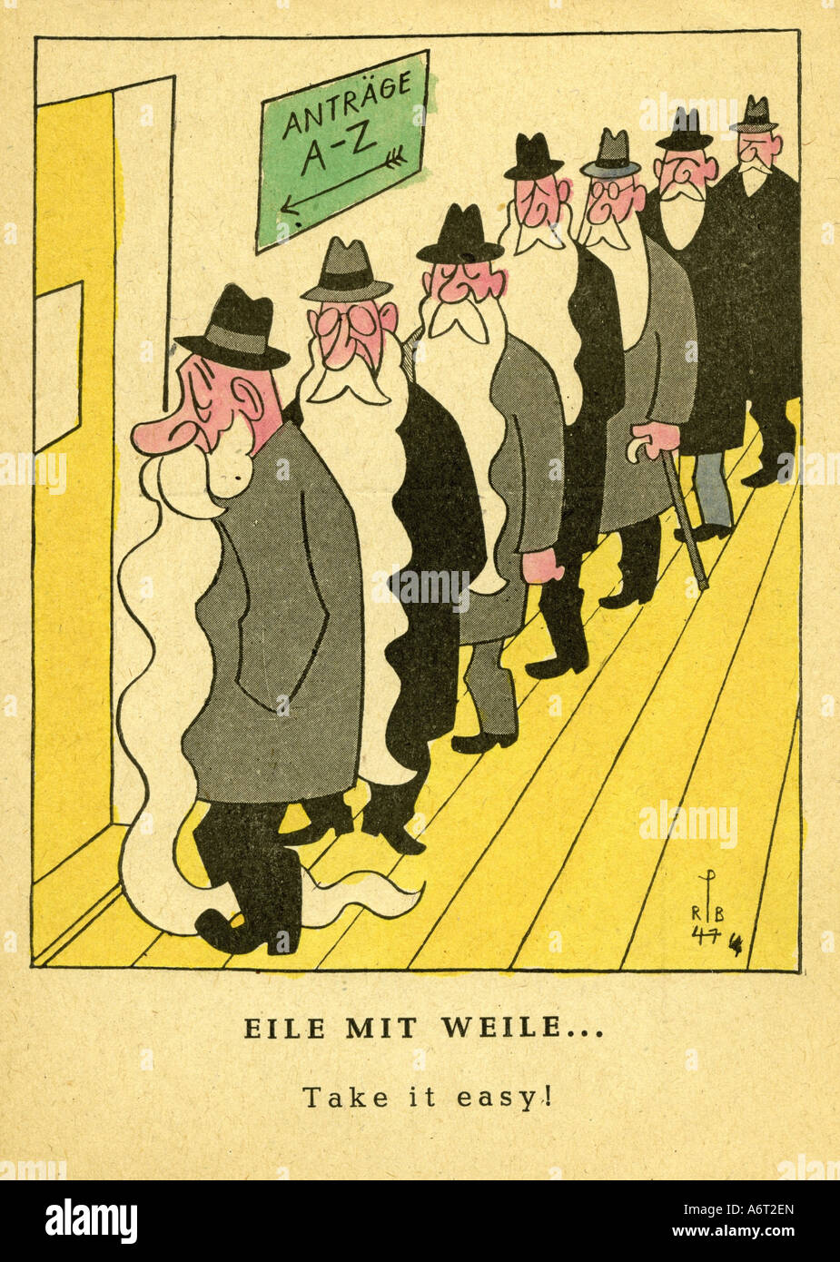 events, post war era, Germany, caricature, 'Take it easy', drawing by Rolf Peter Bauer, 1947, paper warfare, - Stock Image