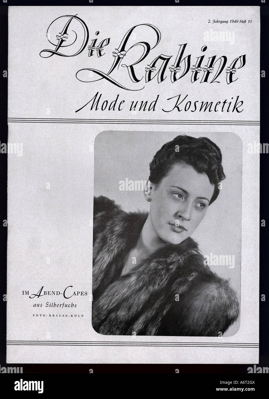 magazines/newspapers, 'Die Kabine', 2nd volume, number 11, 1949, Germany, fashion, cosmetics, magazine, - Stock Image