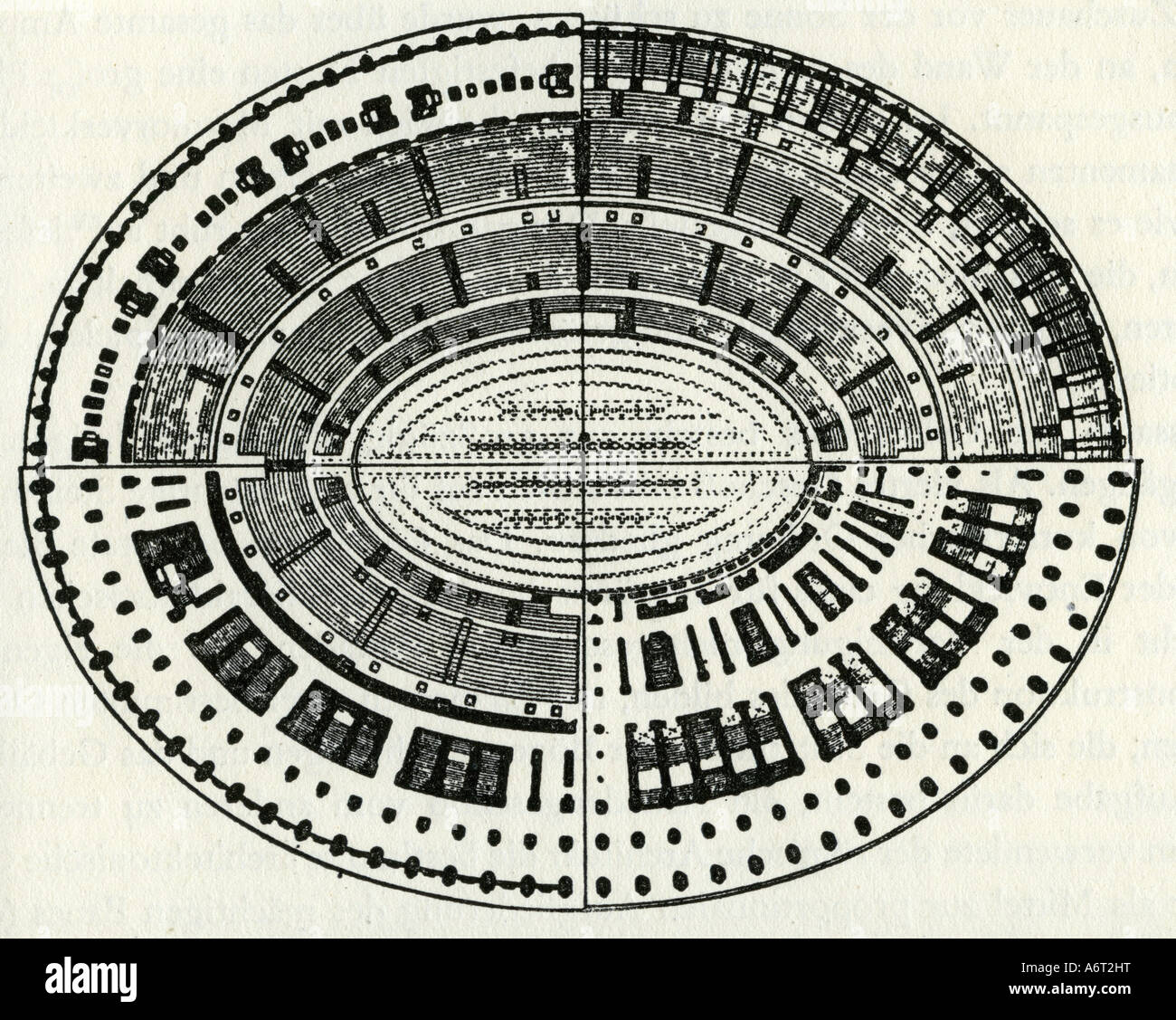 Geography Travel Italy Rome Colosseum Floor Plan Reconstruction 19th Century Drawing Architecture Ancient World Flavian Amphitheatre Coliseum Historic Historical Europe Ancient World Stock Photo Alamy