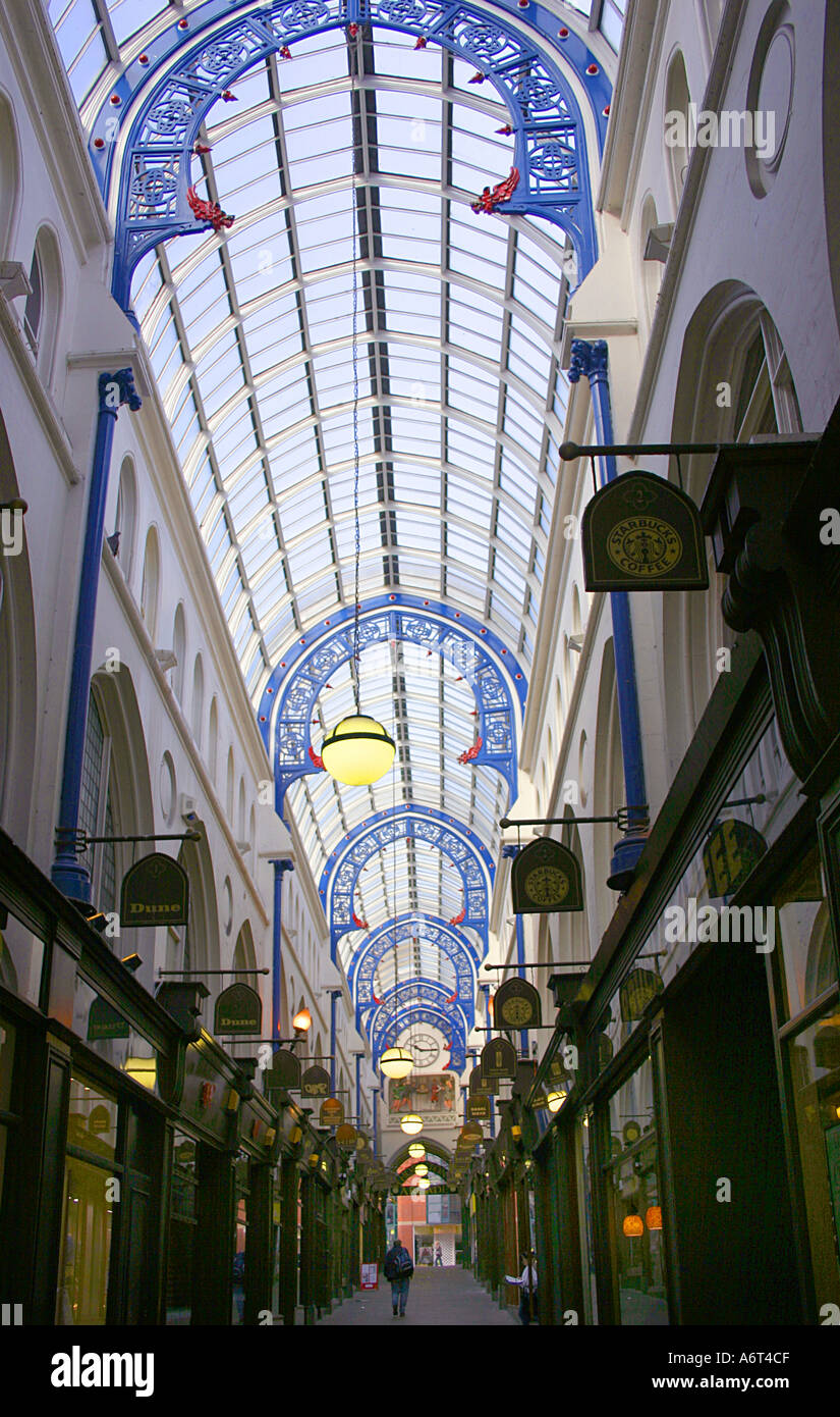 Victorian covered promenade between Thorntons and Queens Arcade Leeds Yorkshire UK - Stock Image