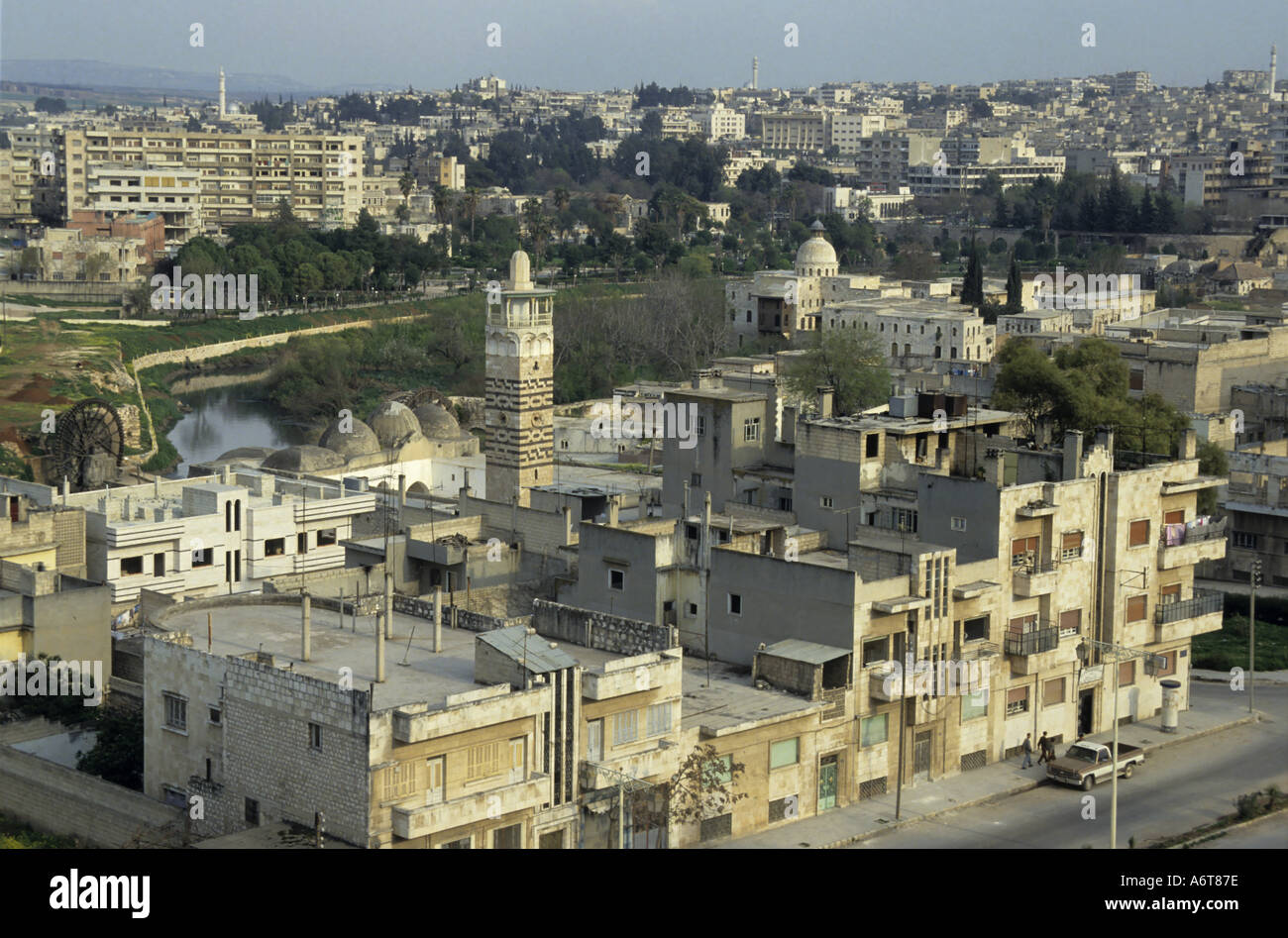 Hama, Syria - The Al-Nuri Mosque viewed from the Citadel Stock Photo