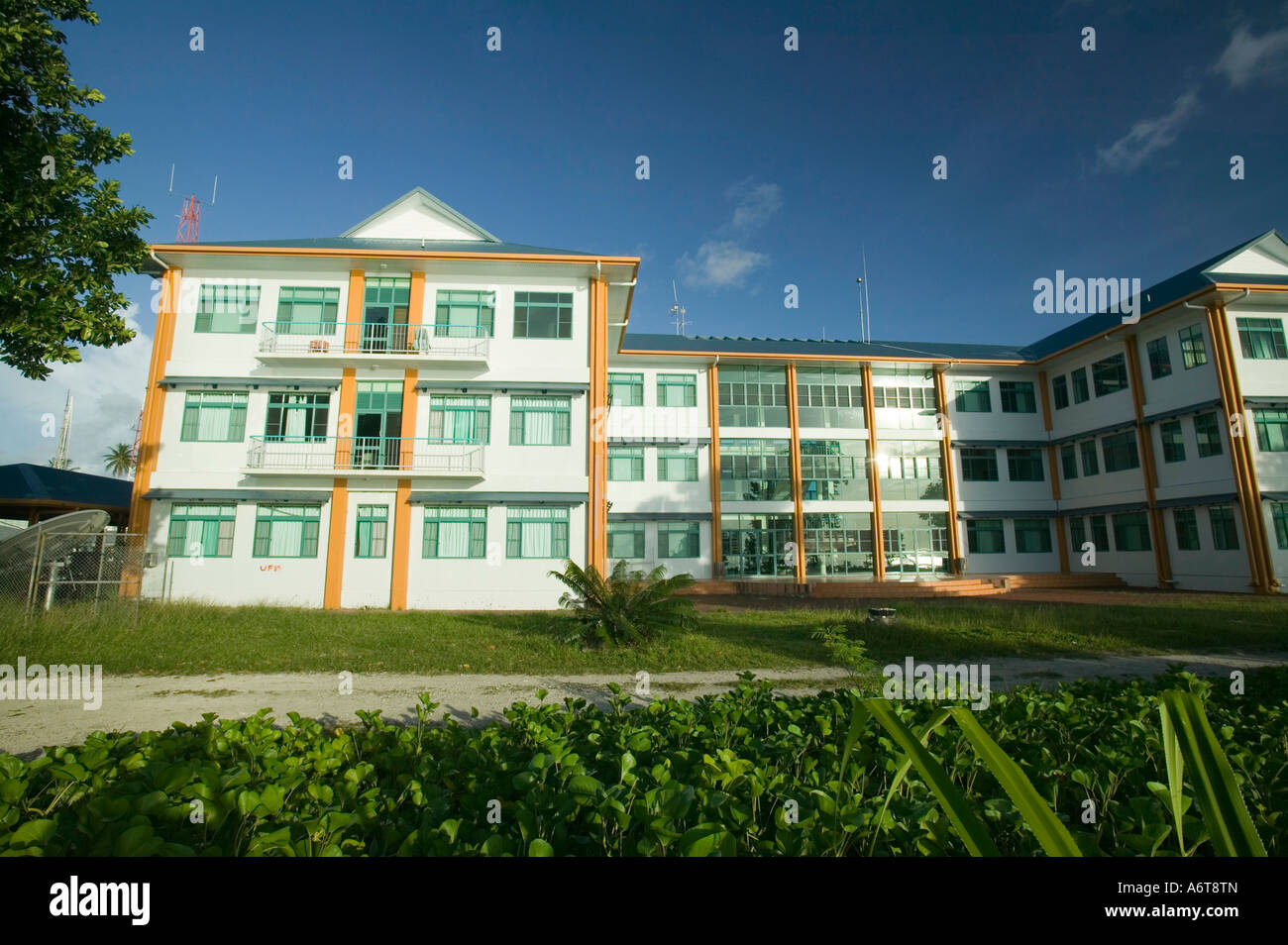 The Tuvaluan parliament building on Funafuti, built by aid from Taiwan Stock Photo