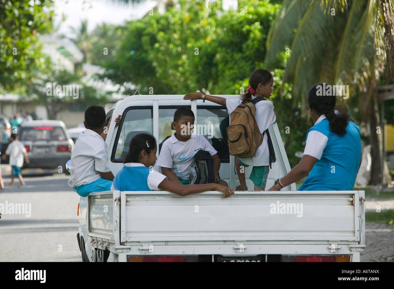 The school run on Funafuti, Tuvalu - Stock Image