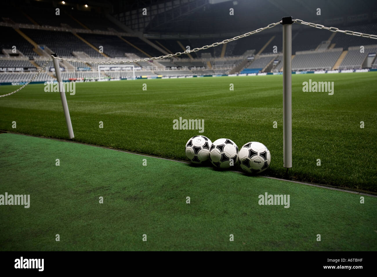 St James Park at night floodlight completely empty - the home of NUFC Newcastle United Football Club - Stock Image