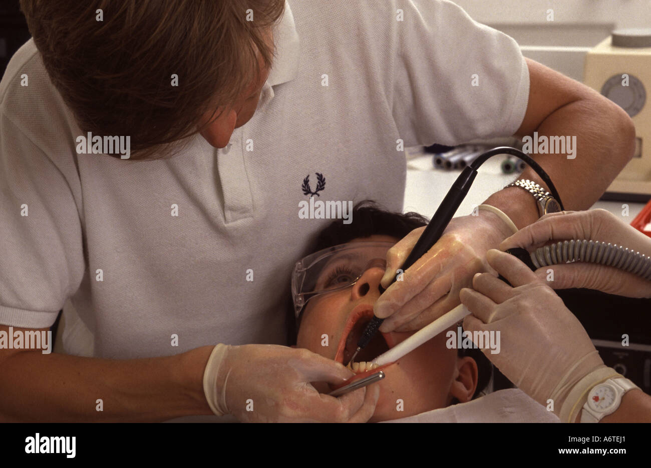 Young boy at the dentists - Stock Image