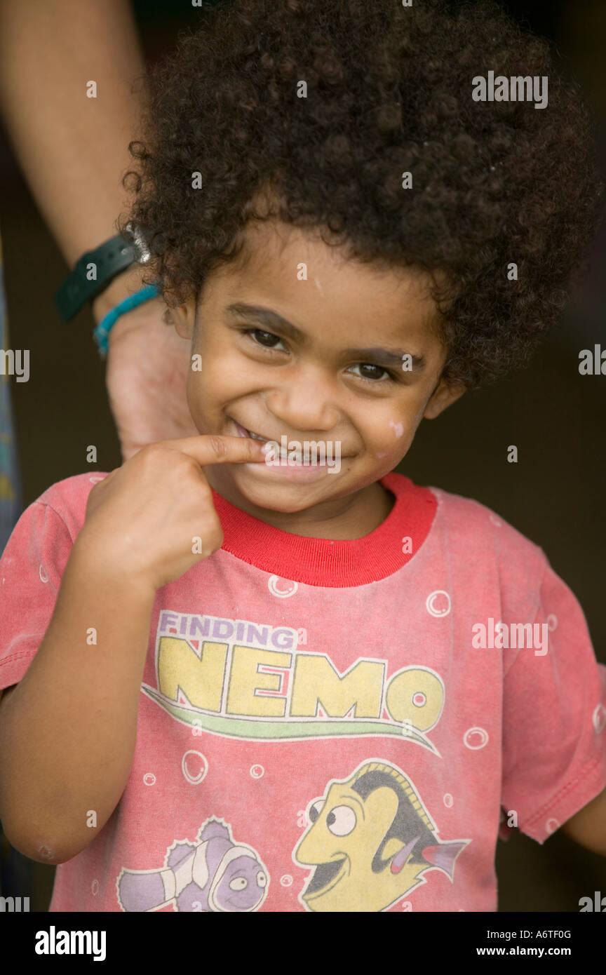 a Fijian child in Bukaya village, Fijian Highlands, Stock Photo