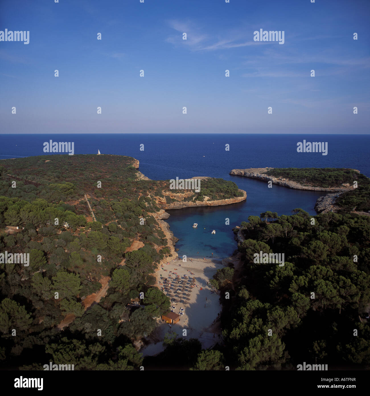 Aerial view - looking East over Cala Sa Nau ( Cala Sa Nou ), near Cala D'Or, Santanyi, East Coast Mallorca, Balearic Stock Photo