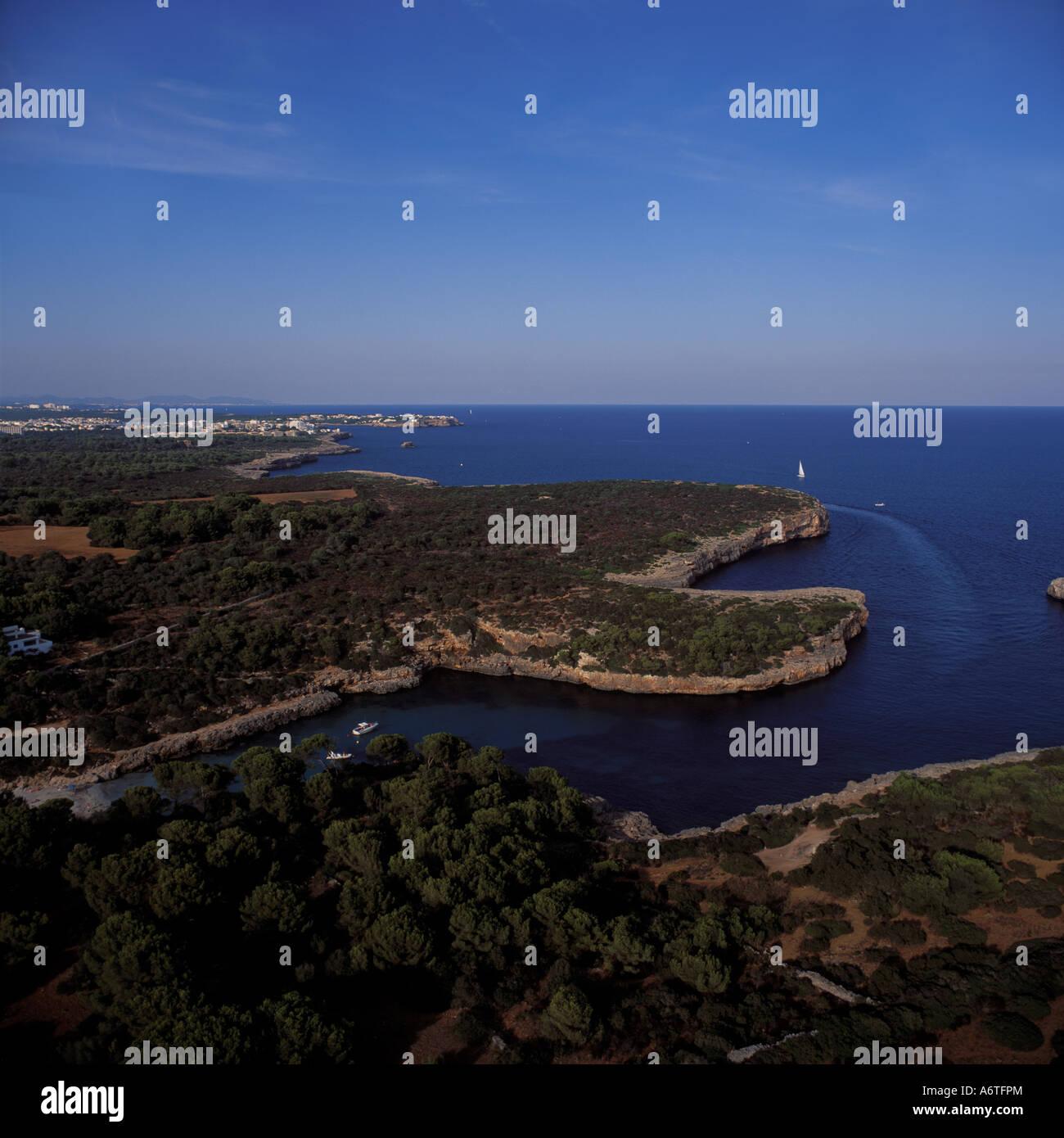 Aerial view - looking North ( towards Porto Colom ) over Cala Sa Nau ( Cala Sa Nou ), near Cala D'Or, Santanyi, - Stock Image