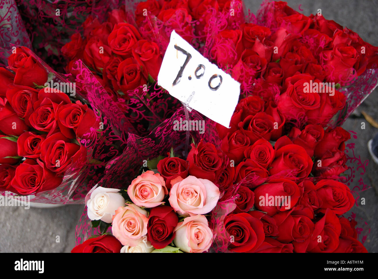 Bouquets Of Red And Pink Roses Price Sign Flower Market Stock