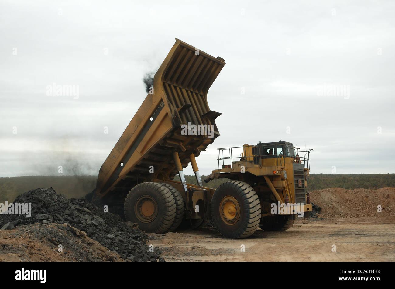 Huge Dump Truck Unloading Rock