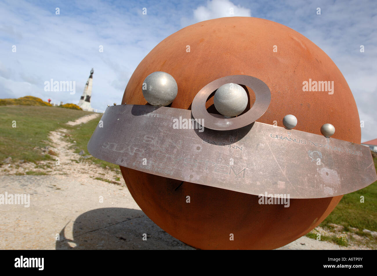 An outdoor scale model of the solar system sculpture in