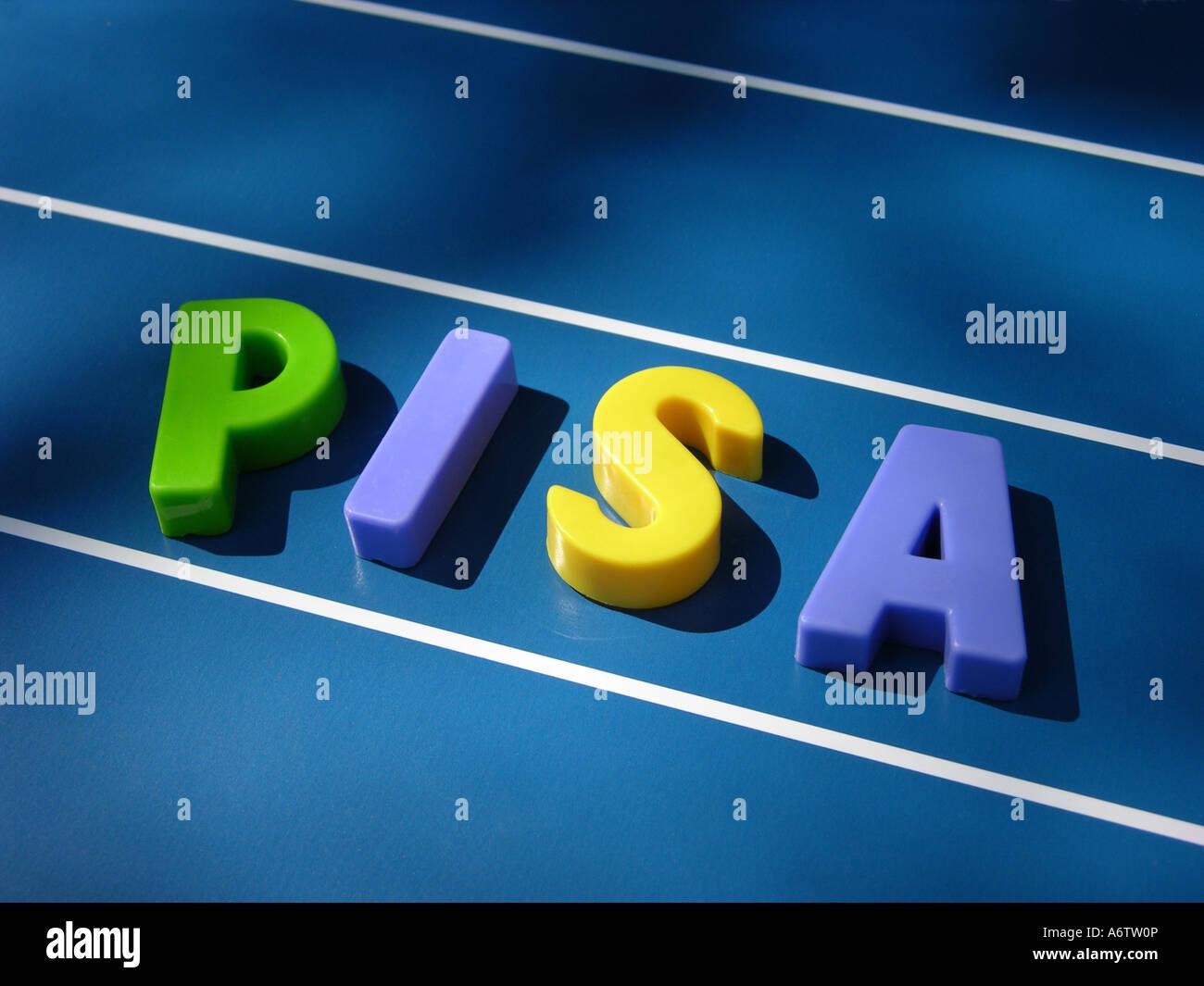 Symbolic for PISA, Programme for International Student Assessment Stock Photo
