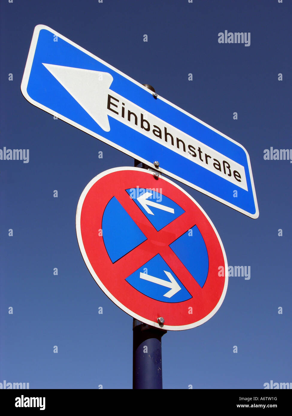Traffic sign, stopping, restriction, one-way street Stock Photo